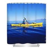 Yellow Kayak Shower Curtain