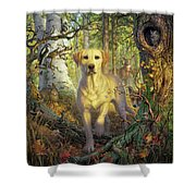 Yellow Lab In Fall Shower Curtain