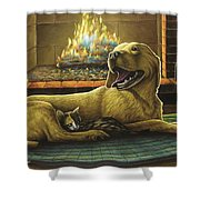Yellow Lab With Kitten Shower Curtain