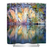 Yellow Lake Abstract Shower Curtain