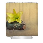 Yellow Lily And Green Bottle Shower Curtain