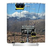 Yellow Line Cable Cars And Andes Mountains Bolivia Shower Curtain