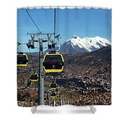 Yellow Line Cable Cars And Mt Illimani La Paz Bolivia Shower Curtain