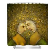 Yellow Lovers Shower Curtain