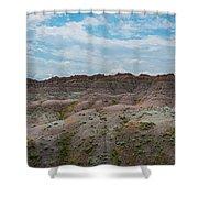 Yellow Mounds Panorama At Badlands South Dakota Shower Curtain