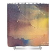 Yellow Orange Blue Watercolor Square Design 3 Shower Curtain