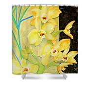 Yellow Orchids With Black Screen Shower Curtain