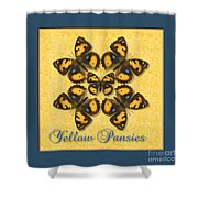 Yellow Pansy Butterfly Wheel Shower Curtain