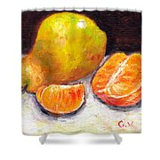Yellow Pear With Tangerine Slices Grace Venditti Montreal Art Shower Curtain