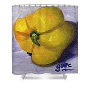 Yellow Pepper On Linen Shower Curtain