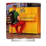 Yellow Piano Shower Curtain