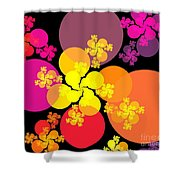 Yellow Pink Red Orbs Shower Curtain