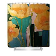 Yellow Poppies On Blue Shower Curtain