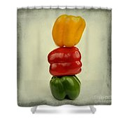 Yellow Red And Green Bell Pepper Shower Curtain