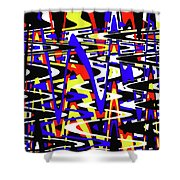 Yellow Red Blue Black And White Abstract Shower Curtain