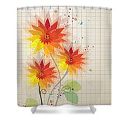 Yellow Red Floral Illustration Shower Curtain