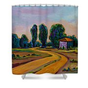 Yellow Road Shower Curtain