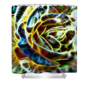 Yellow Rose Fractal Shower Curtain