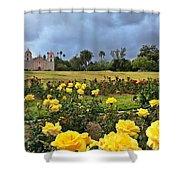 Yellow Roses And Dark Sky Shower Curtain