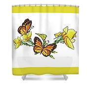 Yellow Roses And Monarch Butterflies Shower Curtain