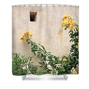 Yellow Roses And Tiny Window At Carmel Mission Shower Curtain