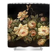 Yellow Roses On Black  Shower Curtain