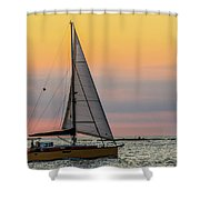 Yellow Sailboat At Sunrise Shower Curtain