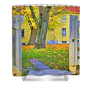 Yellow Shaker House Gate Shower Curtain