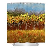 Yellow Stand Of Trees Shower Curtain