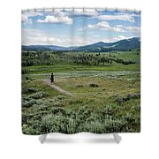 Yellow Stone Mountains Shower Curtain