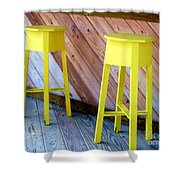 Yellow Stools Shower Curtain
