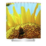 Yellow Sunflower Art Prints Bumble Bee Baslee Troutman Shower Curtain