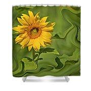 Yellow Sunflower On Green Background Shower Curtain