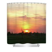 Yellow Sunset At Park Shower Curtain