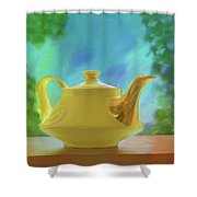 Yellow Teapot And Bowl Shower Curtain