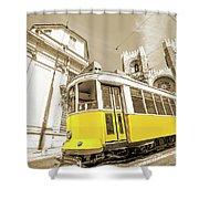yellow tram Lisbon Shower Curtain