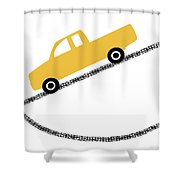 Yellow Truck On Road- Art By Linda Woods Shower Curtain