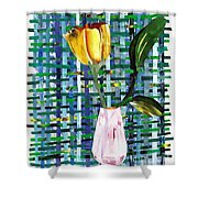 Yellow Tulip In A Pink Vase Shower Curtain