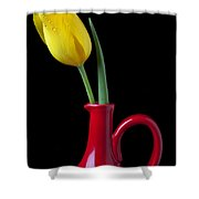 Yellow Tulip In Red Pitcher Shower Curtain