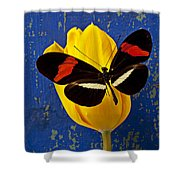 Yellow Tulip With Orange And Black Butterfly Shower Curtain