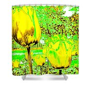Yellow Tulips Abstract Shower Curtain