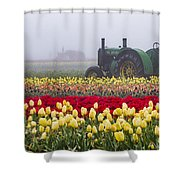Yellow Tulips And Tractors Shower Curtain