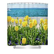Yellow Tulips Near Lake Shower Curtain