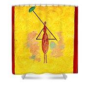 Yellow Umbrella  Lady Shower Curtain