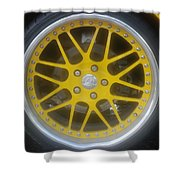 Yellow Vette Wheel Shower Curtain