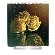 Yellow Vintage Roses  Shower Curtain