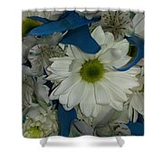 Yellow, White And Blue Shower Curtain