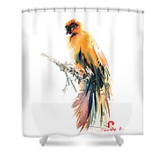 Yellow Wild Bird Shower Curtain