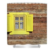 Yellow Window On Wooden Hut Wall Shower Curtain