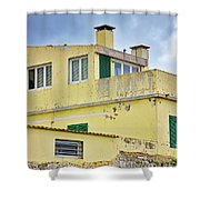 Yellow Worn Out Concrete House Shower Curtain